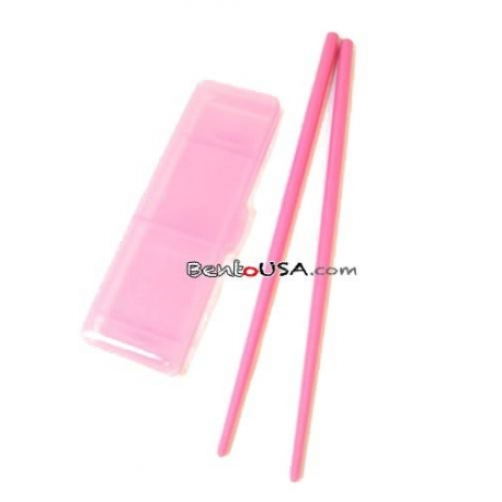 Japanese Bento Chopsticks with Case Portable Pink