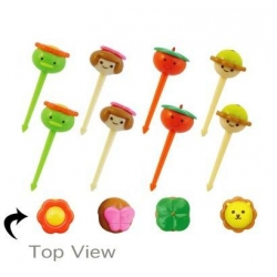 Japanese Bento Accessory Cute Face Food Pick 8 pcs for Bento Box