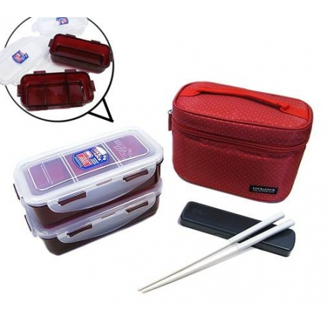 Microwavable Airtight Bento Lunch Box Set Dishwasher Safe Red Bag
