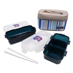 Microwavable Airtight Bento Lunch Box Set Blue Green
