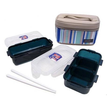 Microwavable Airtight Bento Lunch Box Set Blue Green