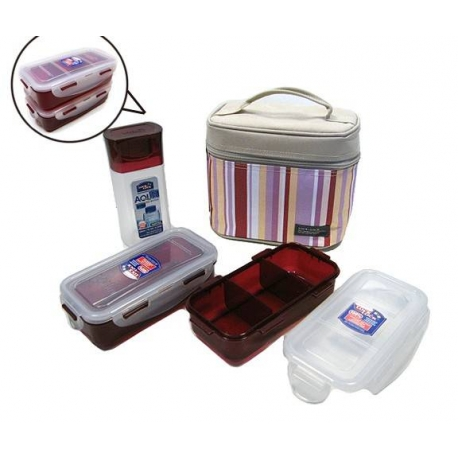Microwavable Airtight Bento Lunch Box Set Lovely Red with Bottle