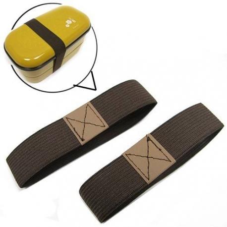 Japanese Bento Box Elastic Belt Lunch Box Bento Strap Brown