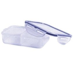 Microwavable Airtight 1.48 Cup Lock&Lock Snack Lunch Box with Removable Trays