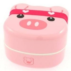 Japanese Bento Box 2 tier Lunch Box with Strap Pig Face