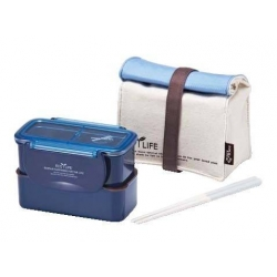 Microwavable 2 Tier Bento Lunch Box Set with Lunch Bag, Chopsticks - Mini Series - Blue