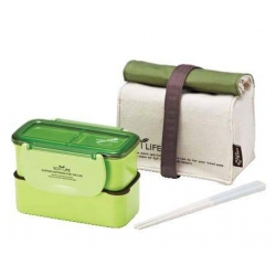 Microwavable 2 Tier Bento Lunch Box Set with Lunch Bag, Chopsticks - Mini Series - Green