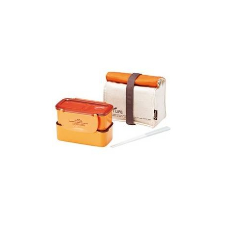 Microwavable 2 Tier Bento Lunch Box Set with Lunch Bag, Chopsticks - Mini Series - Orange