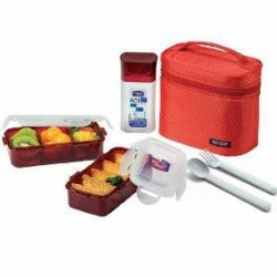 Microwavable Airtight Bento Lunch Box Set, BPA Free Water Bottle Red