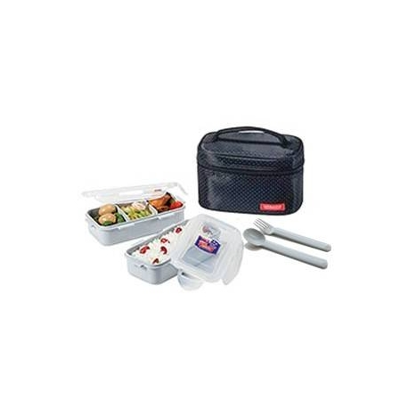 Microwavable Airtight Bento Lunch Box Set with Spoon Fork and Insulated Bag - Black