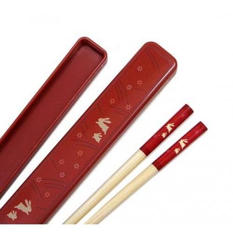 Japanese Bento Chopsticks with Case Rabbit