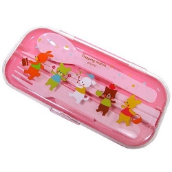 Japanese Bento Box Fork Spoon Chopsticks and Case 4 in 1 - Animal