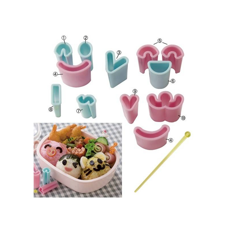 Japanese bento decoration ham cheese cutter face 13 pcs for 7p decoration