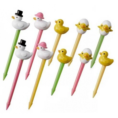 Japanese Bento Accessory Food Pick Duck Family 3D food picks 10 pcs