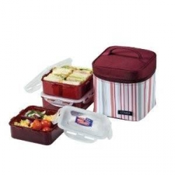 LocknLock Square Bento Lunch Box 3-pcs Set with Insulated Bag