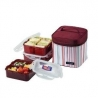 Lock&Lock Square Bento Lunch Box 3-pcs Set with Insulated Bag