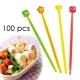 Japanese Bento Cute Long Food Pick 100 pcs - Clear & Slim