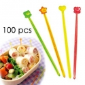 Japanese Bento Cute Long Food Pick 100 pcs - Clear & Slim