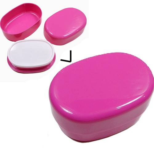 microwavable oval 2 tier bento box lunch box pink for bento box all. Black Bedroom Furniture Sets. Home Design Ideas
