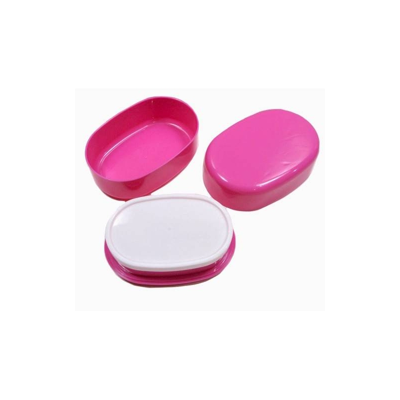 microwavable oval 2 tier bento box lunch box pink for. Black Bedroom Furniture Sets. Home Design Ideas
