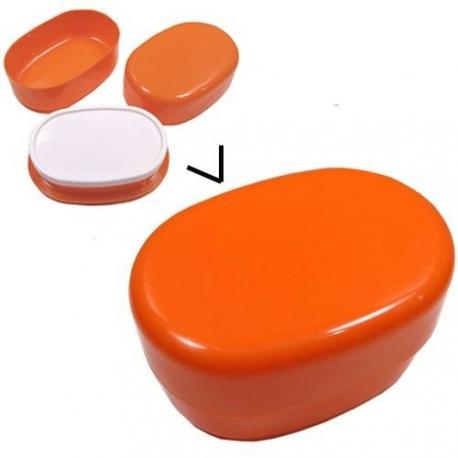 Microwavable Oval 2 Tier Bento Box Lunch Box Orange