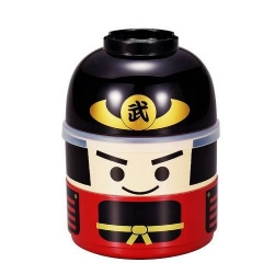 Japanese Bento Box 2 tier Lunch Box Kokeshi Samurai Set
