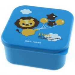 Microwavable Japanese Bento Box Lunch Box Cute Blue Lion 555 ml