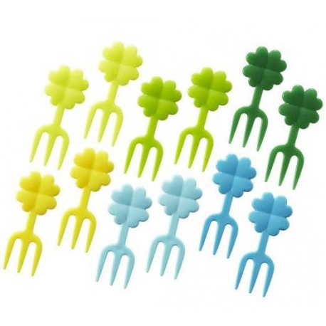 Japanese Bento Box Accessory Clover Fork Food Pick 12 Pcs