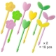 Japanese Bento Food Pick Flower Leaf 18 pcs for Bento Box