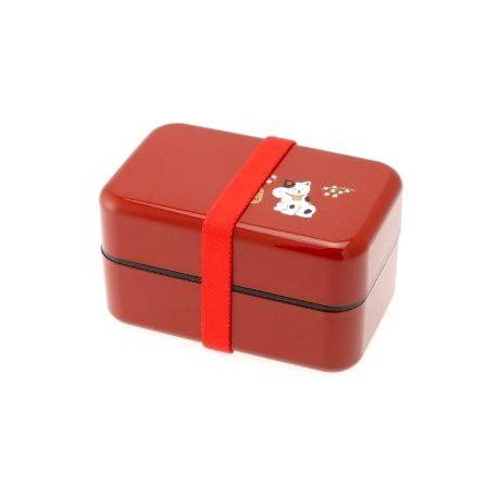 Microwavable Japanese Bento Box Lunch Box Red Lucky Cat