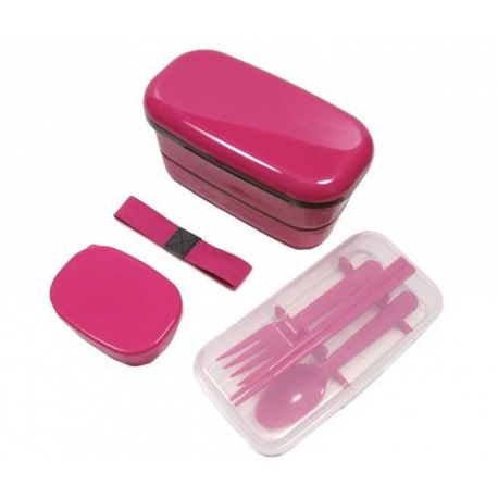Microwavable Japanese Bento Box Lunch Box Set with Spoon Fork Pink