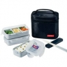 Microwavable Airtight Bento Box 3 Lunch Containers 4.5 Cup - Black