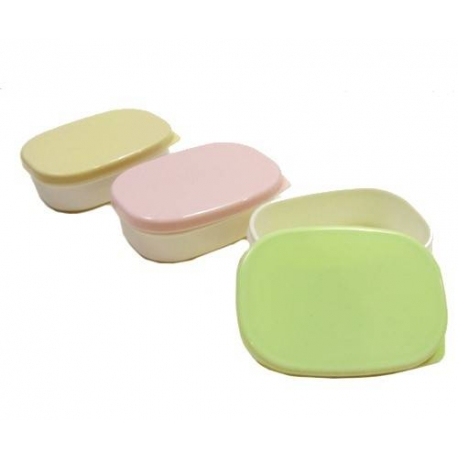Microwavable Japanese Mini Food Container Great for Dressing with Lid 3 Light Colors