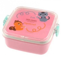 Microwavable Squirrel and Kitty Bento Snack Container
