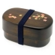 Japanese 2-Tiered Bento Box, Woodgrain Cherry Sakura Blossom