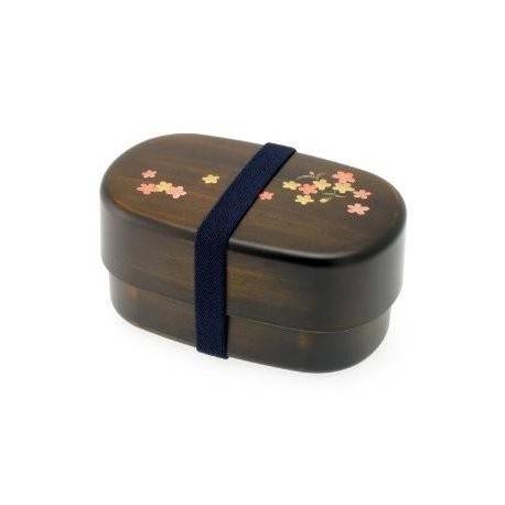 Japanese 2-Tiered Bento Box, Woodgrain Cherry Sakura Blossom