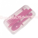 Japanese Bento Accessories Fork Spoon Chopsticks Case 4 in 1 Pink