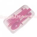 Japanese Bento Accessories Fork Spoon Chopsticks Case 4 in 1 Pink