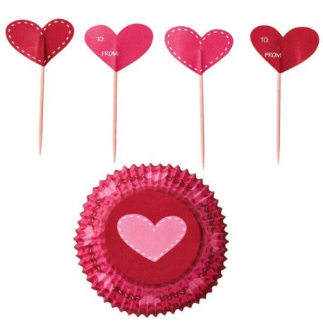 Food Cup and Pick Set 24 pcs Hearts