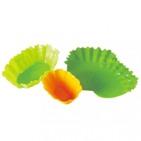 Silicone Microwavable Bento Baran and Food Cup Lettuce Leaf 8 pcs Wide