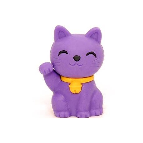 Cute Japanese Eraser Collectible Lucky Cat Purple