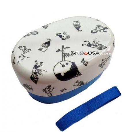 Japanese 2-tier Bento Lunch Box Blue Pinocchio