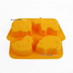 Bento Silicone Mold 4 Fun Animal Shapes Ice Tray
