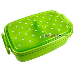 Japanese Microwavable 1 Tier Bento Box Lunch Box Polka Dot Green