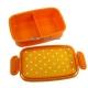 Japanese Microwavable 1 Tier Bento Box Lunch Box Polka Dot Orange