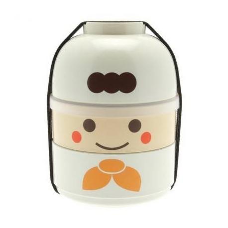 Japanese Bento Box 2 tier Lunch Box Kokeshi Set Chef