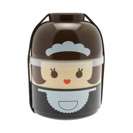 Japanese Bento Box 2 tier Lunch Box Kokeshi Set Maid