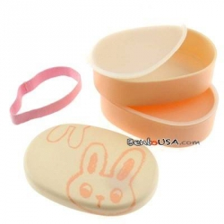 Japanese Bento Box 2 tier Lunch Box with Strap Bunny