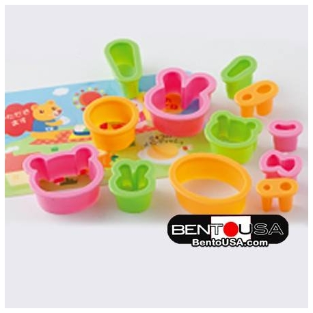 Japanese Bento Decoration Ham Cheese Cutter Set 12pcs with Baran