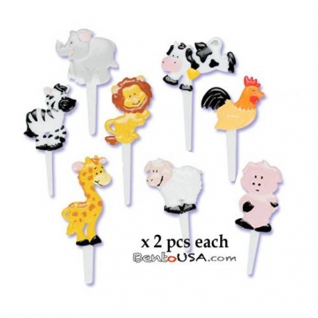 Food Decorating Pick Puffy Pick Animal 16 pcs
